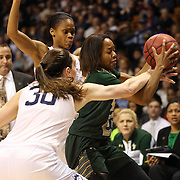 Shaleth Stringfield, USF, defended by Breanna Stewart, and Moriah Jefferson, UConn, during the UConn Huskies Vs USF Bulls Basketball Final game at the American Athletic Conference Women's College Basketball Championships 2015 at Mohegan Sun Arena, Uncasville, Connecticut, USA. 9th March 2015. Photo Tim Clayton