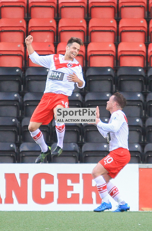 Airdrieonians V Peterhead  Scottish League One 29 August 2015;  Airdrie's Jamie Bain celebrates during the Airdrieonians V Peterhead Ladbrokes Scottish League One match played at Excelsior Stadium, Airdrie.