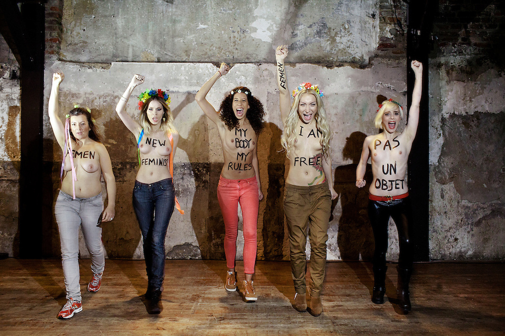 Femen is a feminist France protest group at Lavoir Modern in Paris. They organize topless protests against sex tourists, sexism and socials problems.