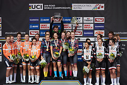 Top three: CANYON//SRAM Racing, Boels Dolmans and Team Sunweb at UCI Road World Championships 2018 - Women's Team Time Trial, a 54 km team time trial in Innsbruck, Austria on September 23, 2018. Photo by Sean Robinson/velofocus.com