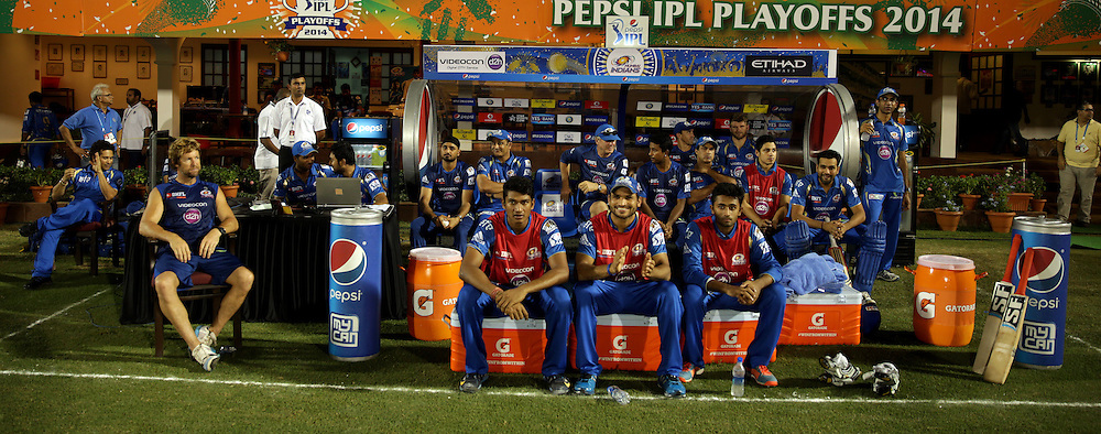 Mumbai Indians Players in dugout during the eliminator match of the Pepsi Indian Premier League Season 2014 between the Chennai Superkings and the Mumbai Indians held at the Brabourne Stadium, Mumbai, India on the 28th May  2014<br /> <br /> Photo by Sandeep Shetty / IPL / SPORTZPICS<br /> <br /> <br /> <br /> Image use subject to terms and conditions which can be found here:  http://sportzpics.photoshelter.com/gallery/Pepsi-IPL-Image-terms-and-conditions/G00004VW1IVJ.gB0/C0000TScjhBM6ikg