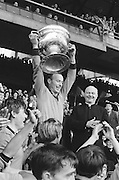 Down captain raising the Sam Maguire Cup during the All Ireland Senior Gaelic Football Final Kerry v Down in Croke Park on the 22nd September 1968. Down 2-12 Kerry 1-13.