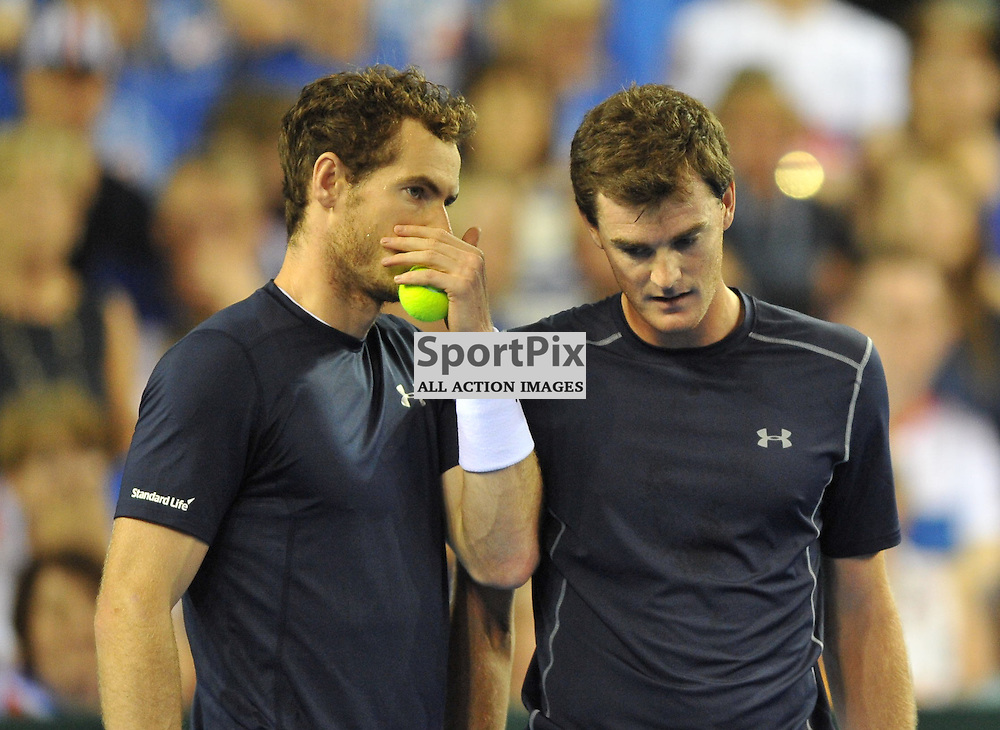 Andy Murray and Jamie Murray in action during the doubles rubber between Great Britain v Australia, Semi Finals,  Aegeon Davis Cup by BNP Paribas, Saturday 19 September 2015 (c) Angie Isac | SportPix.org.uk