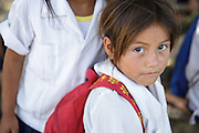 Young girl in school uniform at the primary school in the town of Coyolito, Honduras on Wednesday April 24, 2013.