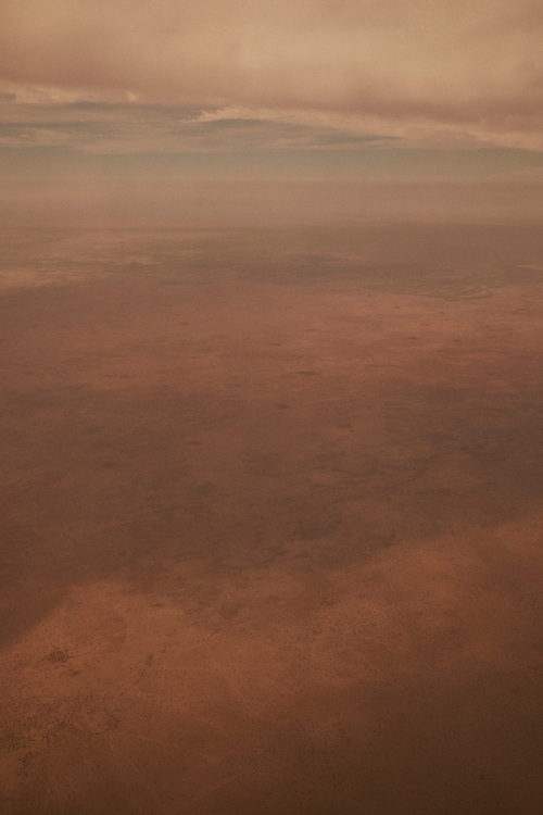 An aerial view of the arid landscape in south east Niger and northern Nigeria on February 18, 2016.