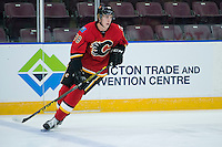 PENTICTON, CANADA - SEPTEMBER 16: Riley Bruce #98 of Calgary Flames skates against the Winnipeg Jets on September 16, 2016 at the South Okanagan Event Centre in Penticton, British Columbia, Canada.  (Photo by Marissa Baecker/Shoot the Breeze)  *** Local Caption *** Riley Bruce;
