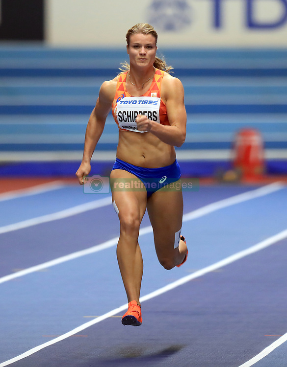 Netherlands' Dafne Schippers on her way to finishing third in the Women's 60m during day two of the 2018 IAAF Indoor World Championships at The Arena Birmingham. PRESS ASSOCIATION Photo. Picture date: Friday March 2, 2018. See PA story ATHLETICS Birmingham. Photo credit should read: Simon Cooper/PA Wire