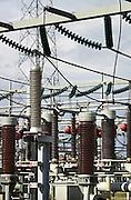 Nederland, Nijmegen, 11-9-2013Verdeelstation voor elektriciteit. Condensatoren en isolatoren met stroomkabels.Foto: Flip Franssen/Hollandse Hoogte