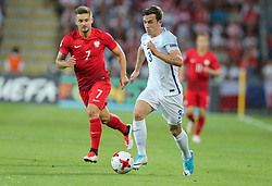 June 22, 2017 - Kielce, Poland - Karol Linetty (POL), Ben Chilwell (ENG), during the UEFA European Under-21 Championship Group A match between England and Poland at Kielce Stadium on June 22, 2017 in Kielce, Poland. (Credit Image: © Foto Olimpik/NurPhoto via ZUMA Press)