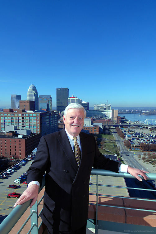 Jim Walters, father of downtown development, on the 16th floor terrace at Waterfront Park Place, Wednesday, Nov. 22, 2006 in Louisville, Ky. (Photo by Brian Bohannon).