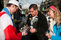 Pin traders showcase their favorite and rare pins from Olympic Games through the years during the 2010 Olympic Winter Games in Whistler, BC Canada
