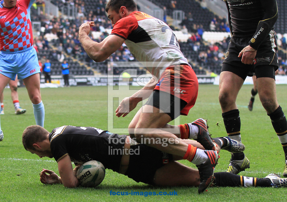 Picture by Richard Gould/Focus Images Ltd +447814 482222.07/04/2013.Ben Crooks of Hull Football Club gets a scrambled try for Hull during the Super League match at the KC Stadium, Kingston upon Hull.