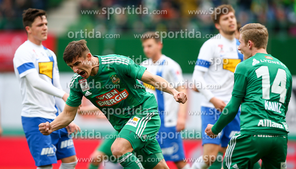 28.02.2016, Ernst Happel Stadion, Wien, AUT, 1. FBL, SK Rapid Wien vs SV Groedig, 24. Runde, im Bild Torjubel Matej Jelic (SK Rapid Wien) und Florian Kainz (SK Rapid Wien) // during a Austrian Football Bundesliga Match, 24th Round, between SK Rapid Vienna and SV Groedig at the Ernst Happel Stadion, Vienna, Austria on 2016/02/28. EXPA Pictures © 2016, PhotoCredit: EXPA/ Thomas Haumer