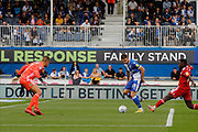 Bristol Rovers forward Alex Rodman shoots and scores a goal during the EFL Sky Bet League 1 match between Bristol Rovers and Accrington Stanley at the Memorial Stadium, Bristol, England on 7 September 2019.
