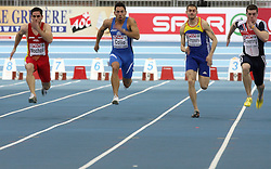Ivan Mocholi, Simone Collio, Catalin Campeanu and Craig Pickering at the qualification of 60m men at the 2nd day of  European Athletics Indoor Championships Torino 2009 (6th - 8th March), at Oval Lingotto Stadium,  Torino, Italy, on March 6, 2009. (Photo by Vid Ponikvar / Sportida)