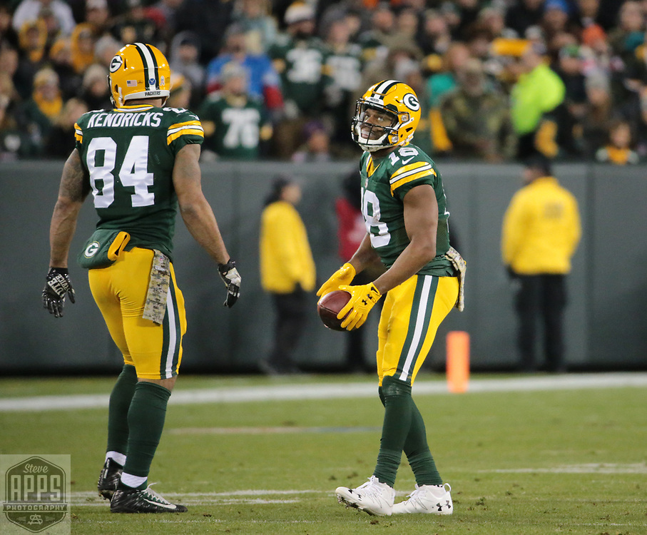 Green Bay Packers wide receiver Randall Cobb (18) after being stuffed for a 3-yard loss on 4th and 2-yards in the 3rd quarter. <br /> The Green Bay Packers hosted the Detroit Lions at Lambeau Field Monday, Nov. 6, 2017. STEVE APPS FOR THE STATE JOURNAL.