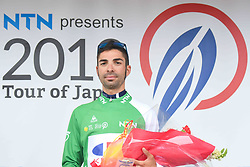 May 26, 2018 - Izu, Japan - Spanish rider Marcos Fernandez Garcia from Kinan Cycling Team keeps the race Leader Green Jersey after the seventh stage of Tour of Japan 2018 won by a  Slovenian rider Grega Bole from Bahrain - Merida Team. .On Saturday, May 26, 2018, in Izu, Shizuoka Prefecture, Japan. (Credit Image: © Artur Widak/NurPhoto via ZUMA Press)