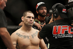 October 24, 2009; Los Angeles, CA; USA; Cain Velasquez (black trunks) before his bout against Ben Rothwell at UFC 104.  Velasquez won via 2nd round stoppage.  Mandatory Credit:  Ed Mulholland