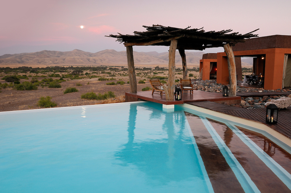 Pool at Okahirongo Elephant Lodge, near Purros, Kaokoland, Kunene Region, Namibia