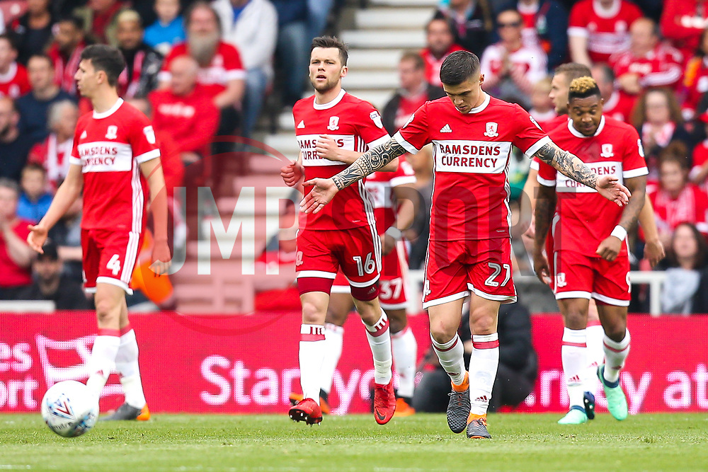 Middlesbrough players cut dejected figures - Mandatory by-line: Robbie Stephenson/JMP - 12/05/2018 - FOOTBALL - Riverside Stadium - Middlesbrough, England - Middlesbrough v Aston Villa - Sky Bet Championship