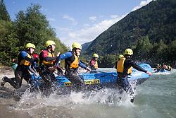 14.07.2015, Ainet, AUT, Eishockey Cracks bei Raftingtour auf der Isel, im Bild Boot zwei mit Spielern der EBEL und NHL, Thomas Raffl (EC Red Bull Salzburg, EBEL), Michael Raffl (Philadelphia Flyers, NHL) und Skirennläuferin Edit Miklos (HUN) // Hockey Cracks during a rafting tour on the East Tyrolean glacial river Isel Ainet, Austria on 2015/07/14. EXPA Pictures © 2015, PhotoCredit: EXPA/ Johann Groder