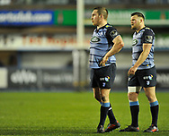 Cardiff Blues' Gethin Jenkins and Cardiff Blues' Owen Lane<br /> <br /> Photographer Mike Jones/Replay Images<br /> <br /> Guinness PRO14 Round 14 - Cardiff Blues v Cheetahs - Saturday 10th February 2018 - Cardiff Arms Park - Cardiff<br /> <br /> World Copyright © Replay Images . All rights reserved. info@replayimages.co.uk - http://replayimages.co.uk