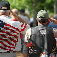 veterans stand shoulder to shoulder and salut the flag during the pledge to start Monday's Memorial Day service at Veterans Park.