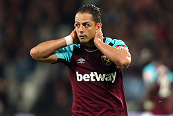 20 October 2017 - Premier League Football - West Ham United v Brighton and Hove Albion - A dejected Javier (Chicharito) Hernandez of West Ham reacts after missing a chance  - Photo: Charlotte Wilson / Offside