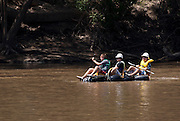 Participants in the Wagga Wagga Gumi Festival, a raft race that resumed after a 15 year hiatus.