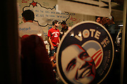 A scene from inside Barack Obama's headquarters in Bloomington, Indiana on November 4, 2008 - election night.