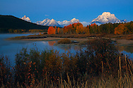 Bright fall colors adorn the trees and a fresh snow fall coats the mountain tops on a chilly October morning in Grand Tetons National Park.