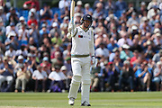 50! Steven Patterson of Yorkshire celebrates reaching a half-century during the Specsavers County Champ Div 1 match between Yorkshire County Cricket Club and Warwickshire County Cricket Club at York Cricket Club, York, United Kingdom on 18 June 2019.