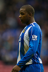WIGAN, ENGLAND - Sunday, January 20, 2008: Wigan Athletic's Titus Bramble looks dejected after handing the opening goal to Everton during his side's 2-1 defeat during the Premiership match at the JJB Stadium. (Photo by David Rawcliffe/Propaganda)