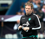 Pau's Head Coach Simon Mannix during the pre match warm up<br /> <br /> Photographer Simon King/Replay Images<br /> <br /> European Rugby Challenge Cup - Semi Final - Cardiff Blues v Pau - Saturday 21st April 2018 - Cardiff Arms Park - Cardiff<br /> <br /> World Copyright &copy; Replay Images . All rights reserved. info@replayimages.co.uk - http://replayimages.co.uk