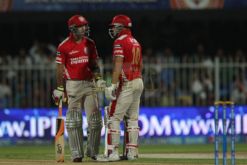 Glenn Maxwell of the Kings X1 Punjab and David Miller of the Kings X1 Punjab during match 9 of the Pepsi Indian Premier League 2014 between the The Kings XI Punjab and the Sunrisers Hyderabad held at the Sharjah Cricket Stadium, Sharjah, United Arab Emirates on the 22nd April 2014<br /> <br /> Photo by Ron Gaunt / IPL / SPORTZPICS