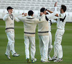 Middlesex's Steven Finn celebrates with his teammates after taking the wicket of Durham's Chris MacLeod - Photo mandatory by-line: Robbie Stephenson/JMP - Mobile: 07966 386802 - 03/05/2015 - SPORT - Football - London - Lords  - Middlesex CCC v Durham CCC - County Championship Division One