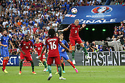 Portugal Defender Pepe clears with a header during the Euro 2016 final between Portugal and France at Stade de France, Saint-Denis, Paris, France on 10 July 2016. Photo by Phil Duncan.