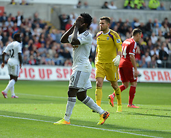Swansea City's Wilfried Bony dejected after coming close to scoring. - Photo mandatory by-line: Alex James/JMP - Mobile: 07966 386802 30/08/2014 - SPORT - FOOTBALL - Swansea - Liberty Stadium - Swansea City v West Brom - Barclays Premier League