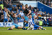 Brighton central midfielder, Beram Kayal (7) is fouled on the edge of the area during the Sky Bet Championship play-off second leg match between Brighton and Hove Albion and Sheffield Wednesday at the American Express Community Stadium, Brighton and Hove, England on 16 May 2016. Photo by David Charbit.