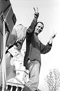 Man showing peace sign, 1st Criminal Justice March, Trafalgar Square, London, UK, 1st of May 1994.
