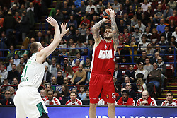 November 9, 2017 - Assago, Milan, Italy - Vladimir Micov (#5 AX Armani Exchange Milan) shoots a layup during a game of Turkish Airlines EuroLeague basketball between  AX Armani Exchange Milan vs Zalgiris Kaunas at Mediolanum Forum on November 9, 2017 in Milan, Italy. (Credit Image: © Roberto Finizio/NurPhoto via ZUMA Press)