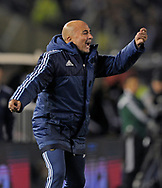 Argentina's team coach Jorge Sampaoli gestures during their 2018 FIFA World Cup qualifier football match against Venezuela,  at El Monumental stadium, in Buenos Aires, on September 5, 2017.