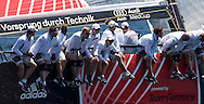 """Platoon Powered by Team Germany"" going upwind during the Practice race of the AUDI Medcup in Marseille"