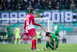 Damir Grgic, Rok Kronaveter during football match between NK Olimpija Ljubljana and Aluminij in Round #9 of Prva liga Telekom Slovenije 2018/19, on September 23, 2018 in Stozice Stadium, Ljubljana, Slovenia. Photo by Morgan Kristan