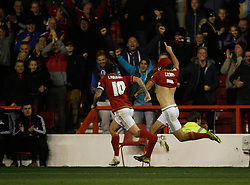 Eric Lichaj of Nottingham Forest (R) celebrates scoring his sides first goal - Mandatory byline: Jack Phillips / JMP - 07966386802 - 20/10/2015 - FOOTBALL - The City Ground - Nottingham, Nottinghamshire - Nottingham Forest v Burnley - Sky Bet Championship