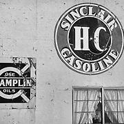 Sinclair Gasoline and Champlin Oils Signs - Eldorado Canyon - Nelson NV - Black & White