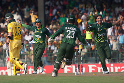 ©London News Pictures. 19/03/2011.Abdul Razzaq celebrates after bowling out Michael Clarke at R.Premadasa Stadium Colombo Sri Lanka