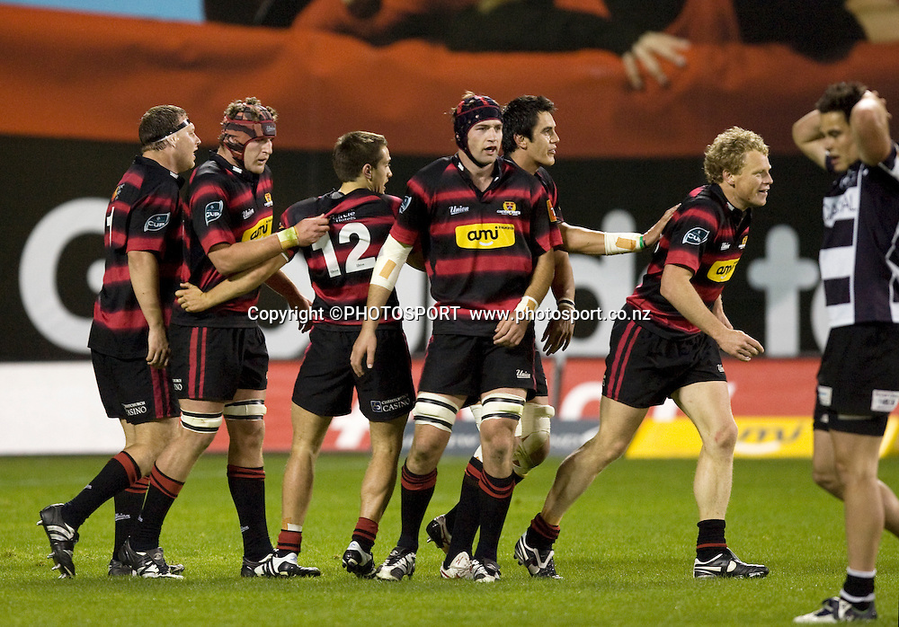 Scott Hamilton celebrates with teammates after the match winning try as Zac Guildford walks through with hands on his head. Air NZ Cup, Semi-final. Canterbury v Hawkes Bay at AMI Stadium, Christchurch, New Zealand. 18 October 2008 Photo: Joseph Johnson/PHOTOSPORT