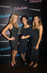Left to right, OLYMPIA SCARRY, LARA BOHINC and SARA BRAJOVIC at a party to celebrate Zandra Rhodes's return to London Fashion week and the launch of a limited edition of M.A.C makeup at Silver, 17 Hanover Square, London W1 on 20th September 2006.<br />