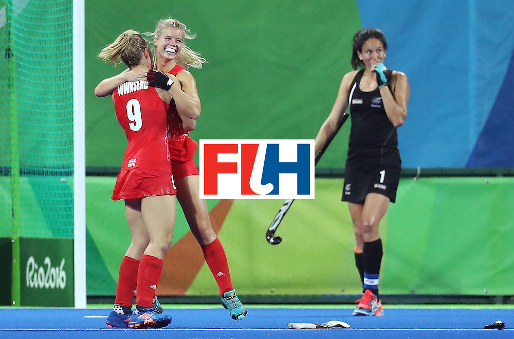 RIO DE JANEIRO, BRAZIL - AUGUST 17:  Sophie Bray #19 of Great Britain and Susannah Townsend #9 of Great Britain celebrate victory after the Women's Semifinal match between New Zealand and Great Britain on Day 12 of the Rio 2016 Olympic Games at the Olympic Hockey Centre on August 17, 2016 in Rio de Janeiro, Brazil.  (Photo by Rob Carr/Getty Images)